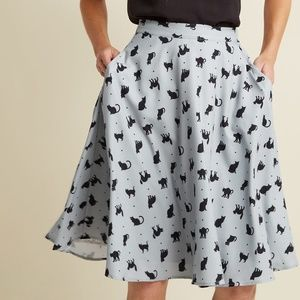 Modcloth A-Line Circle Skirt With Pockets In Cats